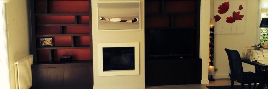 Ensemble 2 bibliothèques + console sur mesure en bois plaqué de wengé