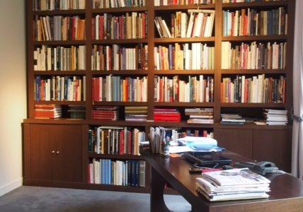 Grande bibliothèque en Wengé pour un bureau d'expert à Paris