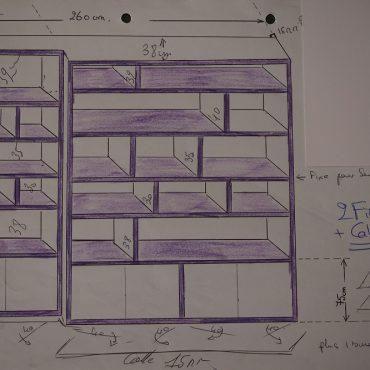 Plan bibliothèque contemporaine à ressaut