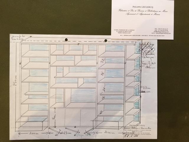 Plan bibliothèque meuble TV à l'atelier