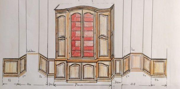 Des plans dessinés à la main pour des meubles sur-mesure