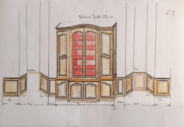 Des plans dessin s la main pour des meubles sur mesure Dessiner meuble sur mesure