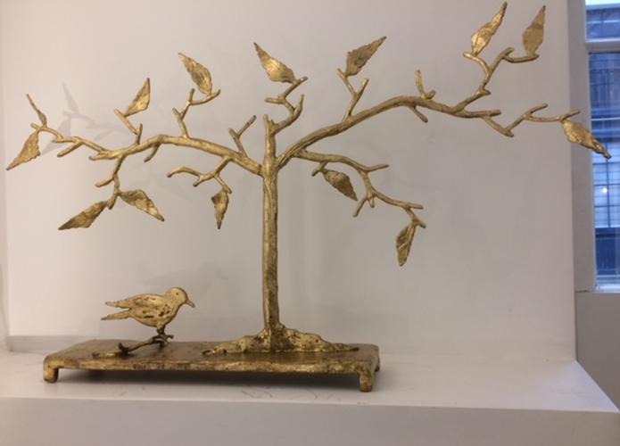 sculpture-dore-oiseau-arbre