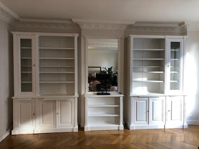 Bibus et paire de bibliothèques de style Louis XV